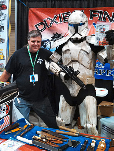 storm trooper with Paul Block holding his Block sharpener.
