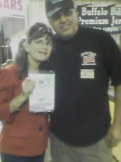 Sarah Palin and Paul Bock holding her new Block Sharpener