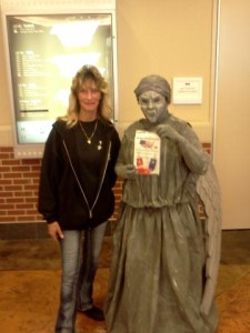 Angel of Death ghost with Billie Jo Block getting a Block knife sharpener.