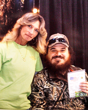 Billie Jo Block with Justin Martin TV show (Duck Dynasty) and his new Block Sharpener