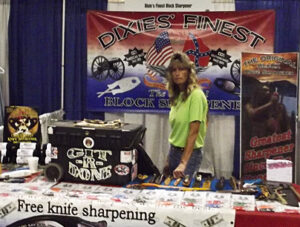 Billie Jo Block at the Block sharpener booth 2014