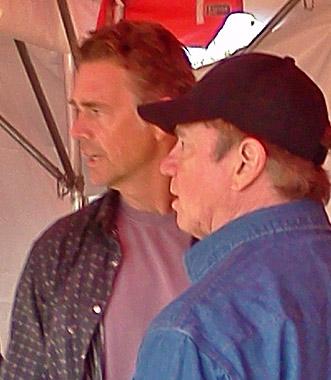 The Original Duke Boys John Schneider & Tom Wopat (watching Billie jo Block Demeo her knife sharpener)