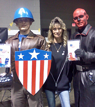 Captain America and Red skull comic con cos players with Brand New Blcok Sharpeners