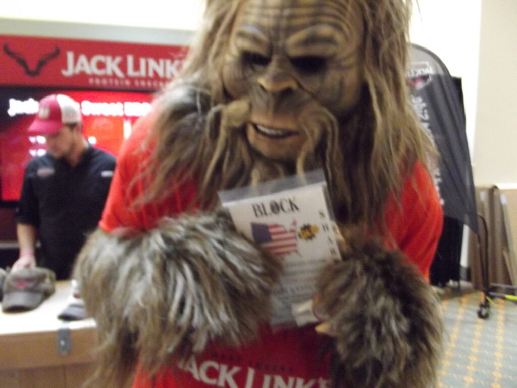 Jack Links Jerky mascot with his new Block knife sharpener.