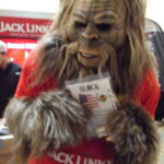 Jack Links Jerky mascot Bigfoot With his new Block Sharpener