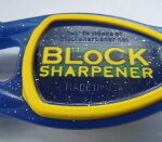 Block Sharpenr front view of blue handle and yellow grip