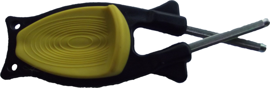 The Block Sharpener black handle with yellow grip