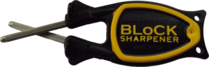 Block Sharpener black handle with yellow grip