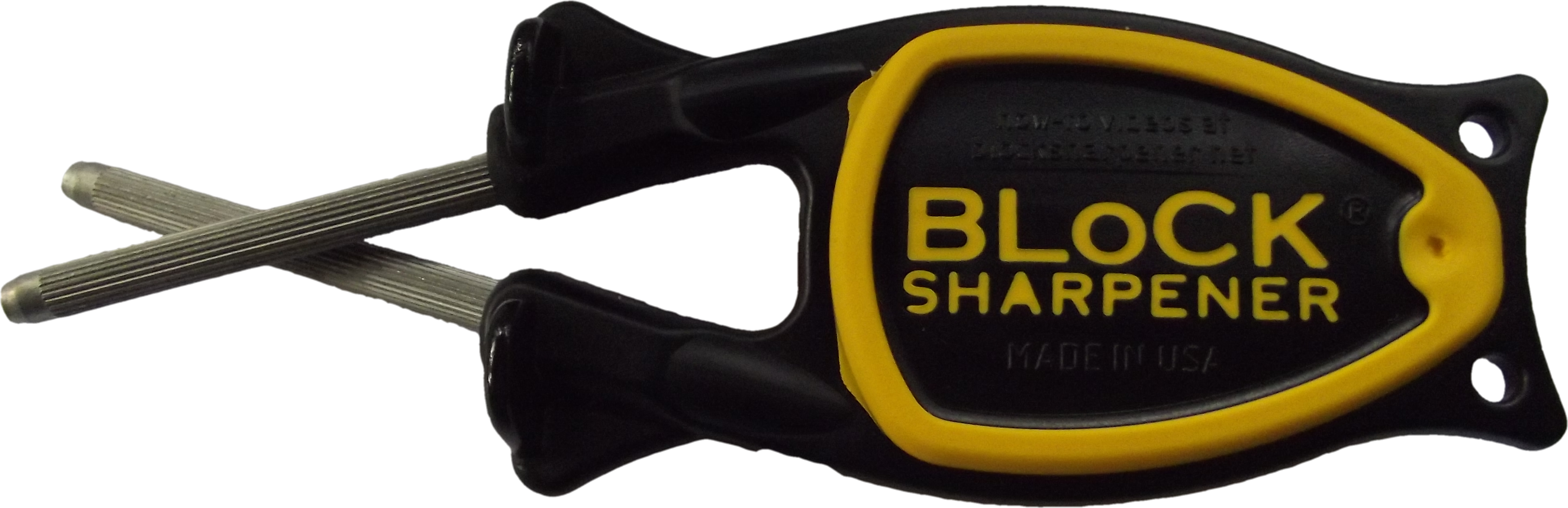 block sharpener black handle with yellow grip