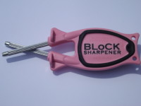 Block Sharpener pink Handle black grip