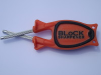 orange handle black grip Block Sharpener