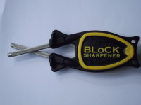 black handle yellow grip Block Sharpener