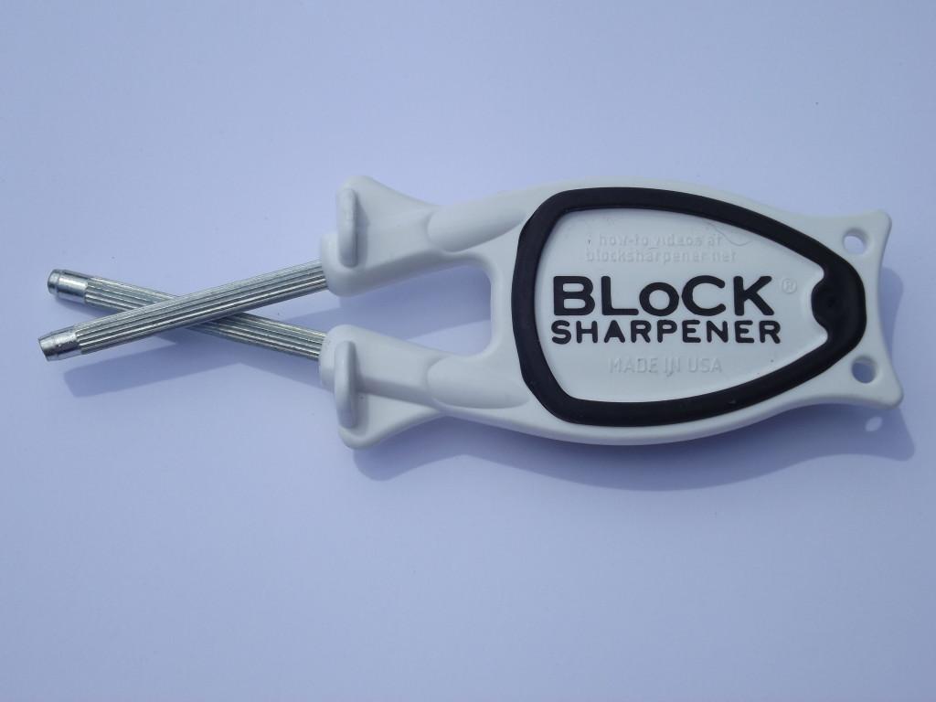 White with Black grip Block hunting knife Sharpener