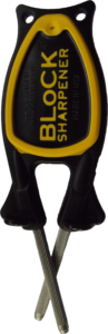 Block Sharpener with black andle and yellow grip