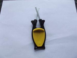 black handle with yellow grip Block Sharpener