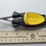 Block knife Sharpener with black handle and yellow grip