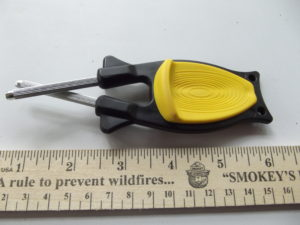 Block Sharpener with black handle and yellow grip