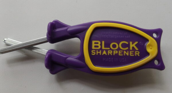 Knife Sharpener with purple handle and yellow grip for sale online
