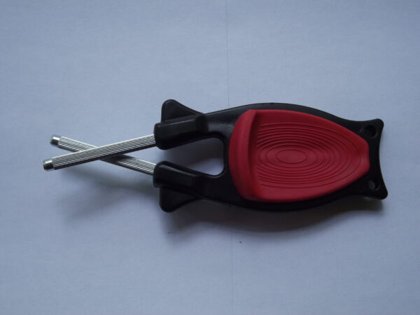 Block's Knife sharpener with a Black handle and Red grip. For sale online with(Free Shipping)