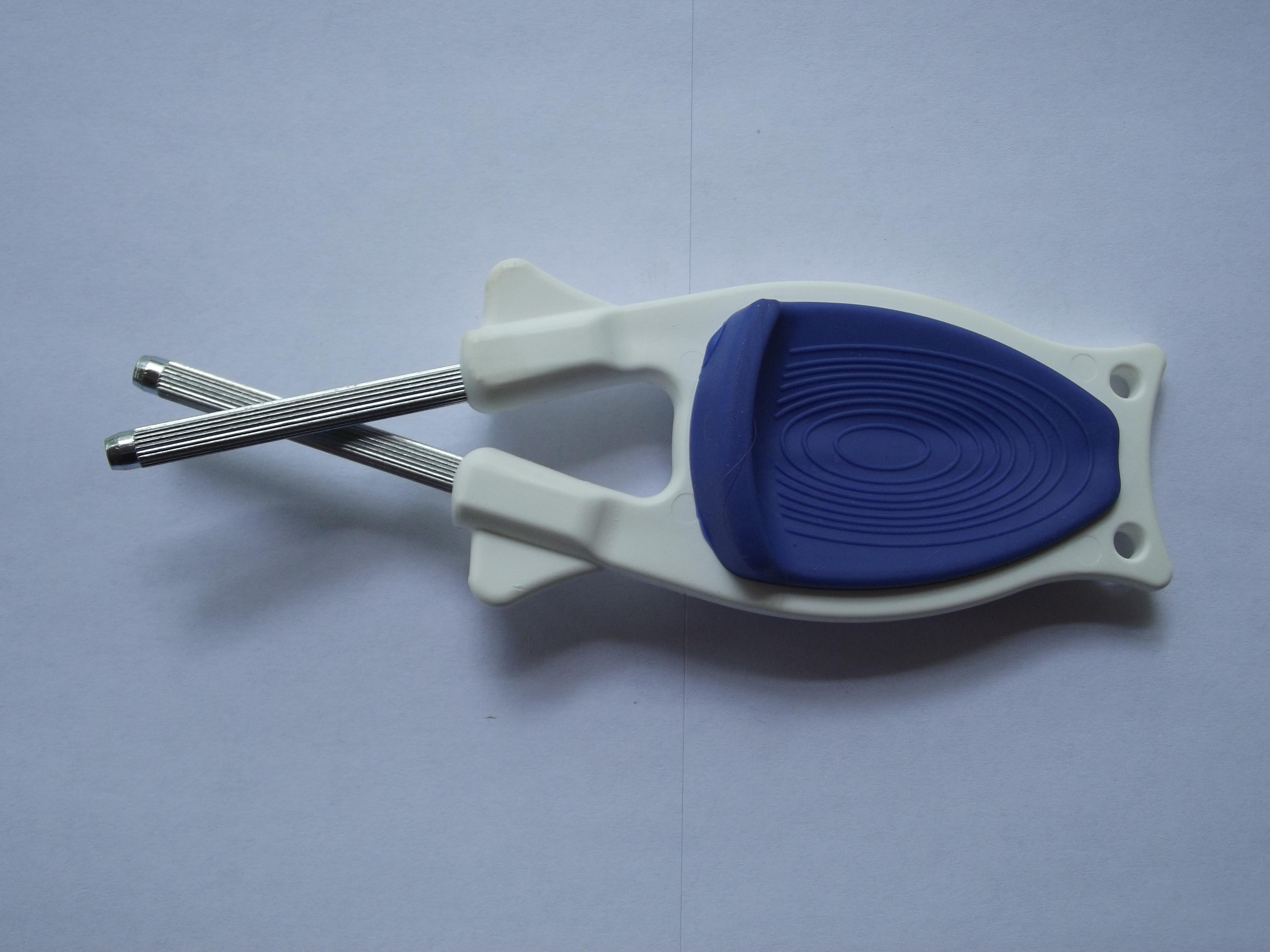 White Block sharpener with Blue Anti-Slip Grip