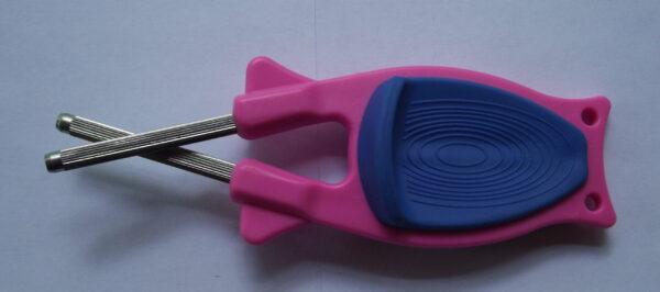 Pink Knife sharpener with blue grip for sale online.