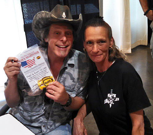 Ted Nugent with the Block knife sharpener and Billie Jo Block