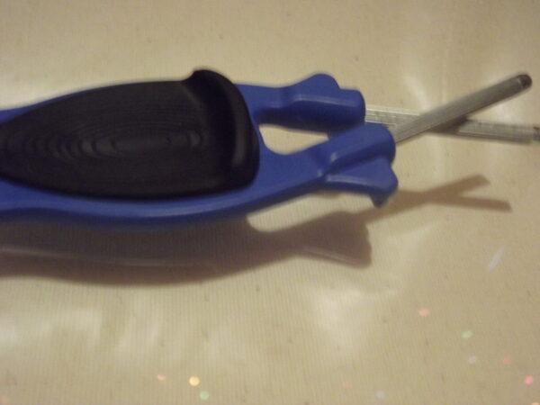 Blue Block Knife sharpener with Black Ant- slip Grip on handle. For sale on line.