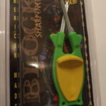 Green Knife sharpener with Yellow Anti slip grip.for sale online.